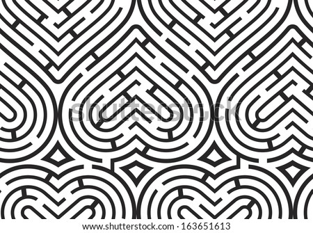 Modern Vector Seamless Pattern: Black and White Maze Hearts - stock vector