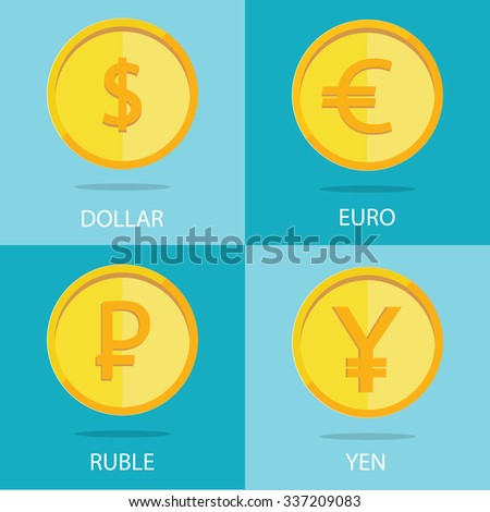 Modern vector set of gold coins on colorful background, euro, dollar, ruble, yen - stock vector