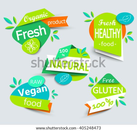 Modern vector set of healthy organic food labels, tags, emblems, logo for meal and drink,cafe, restaurants and  products packaging.Vector illustrated. - stock vector
