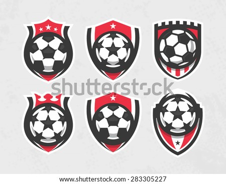 Modern vector soccer logo set - stock vector