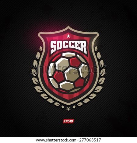Modern vector soccer winner gold shield emblem with olive branch - stock vector