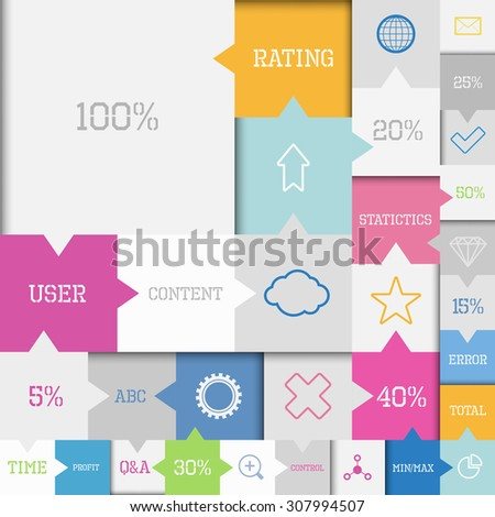 Modern vector square flat infographic elements with symbols - stock vector