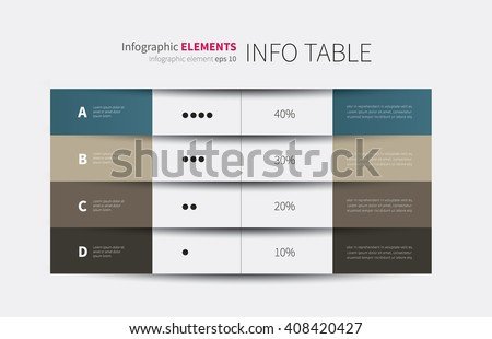 modern vector summary table with rows and columns / 4 columns infographic table - stock vector
