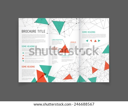 Modern Vector three fold brochure / leaflet / flyer design template with triangles - stock vector
