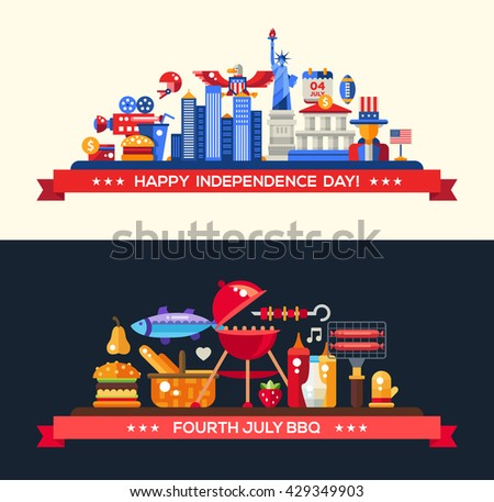 Modern vector USA Independence Day and Independence day Barbecue banners set with national holiday, famous American symbols - stock vector
