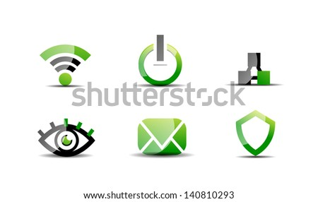 Modern vector web green and black clean icon set - stock vector