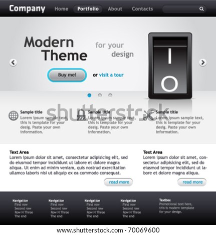 Modern vector website template for your product. - stock vector