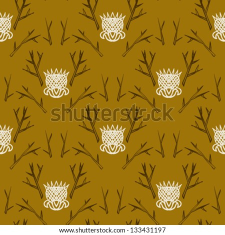 Modern version of damask pattern in organic colors. - stock vector