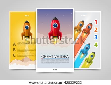 Modern vertical banners, Rocket creative idea, 3d leader up, Rocket flyer set, cover infographics. Vector illustration - stock vector
