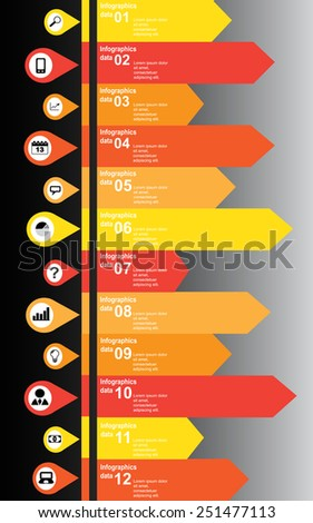 Modern vertical info graphic scheme orange and black icons - stock vector