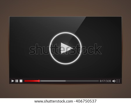 Modern video frame. Video player interface mokup or UI for web. Vector illustration - stock vector