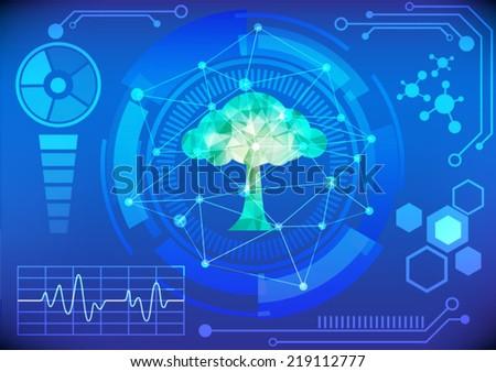 Modern virtual technology background vector illustration - stock vector