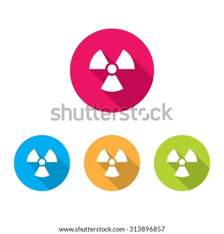 Modern Warning or Toxic Radiation Hazard Icons With Long Shadow - stock vector