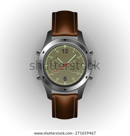 Modern watch isolated on a white background, vector illustration.  - stock vector