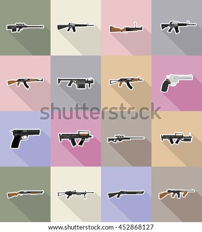 modern weapon firearms flat icons vector illustration isolated on background - stock vector