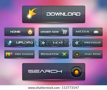 Modern Web Elements Shiny Vector Button Set Dark Version - stock vector