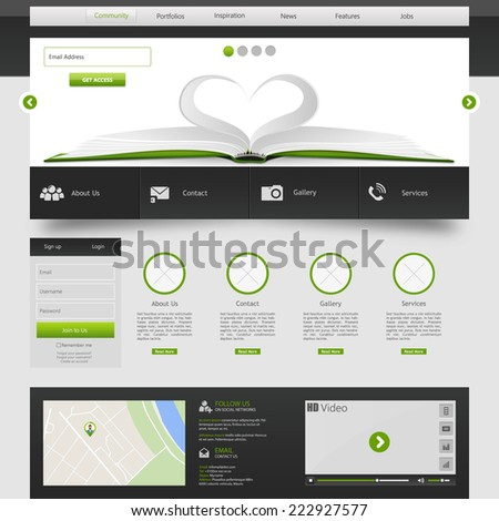 Modern web template, Ideal for business website with a lot of design elemenets.  - stock vector