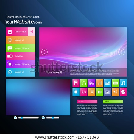 Modern website design template. Metro style.  - stock vector