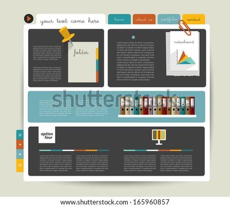 Modern  website template. Colorful minimalistic option banner. Vector illustration. Box diagram. Blog, noticeboard background. - stock vector