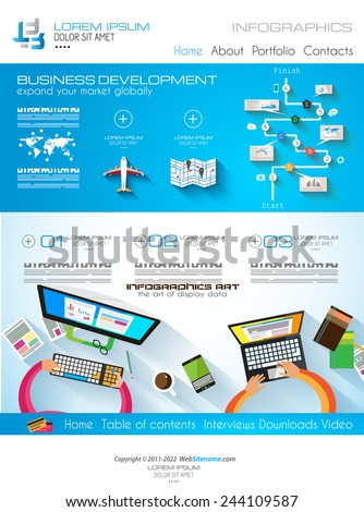 Modern website template with flat style infographics layout for your project. It includes laptop and mobile devices mockup, computers and desk supplies designs. - stock vector