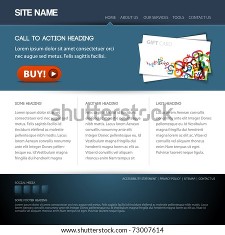 Modern website template with nice button - stock vector