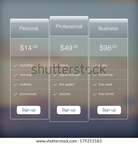 Modern website ui template design. Transparent app user interface price list widget buttons on minimalistic blurred backdrop. Vector editable webdesign elements on blurred background with icons.  - stock vector