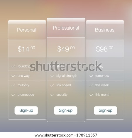 Modern website ui template design. Transparent app user interface price list widget buttons on minimalistic backdrop. Vector editable webdesign elements on retro background.  - stock vector