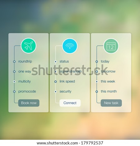 Modern website ui template design. Transparent app user interface wizard buttons on minimalistic blurred backdrop. Vector editable webdesign elements on blurred background with icons.  - stock vector