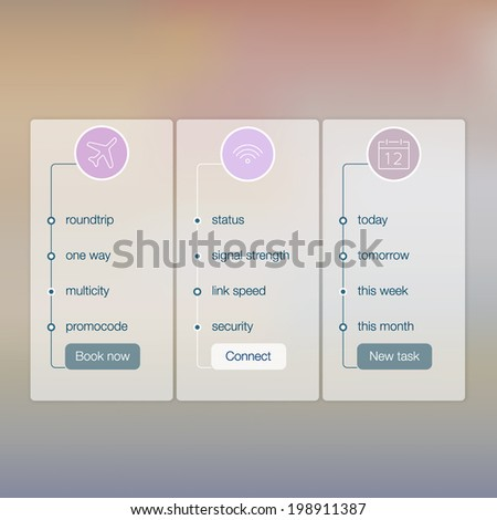 Modern website ui template design. Transparent app user interface wizard buttons on minimalistic backdrop. Vector editable webdesign elements on retro background with icons.  - stock vector