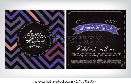 Modern wedding invitation - stock vector