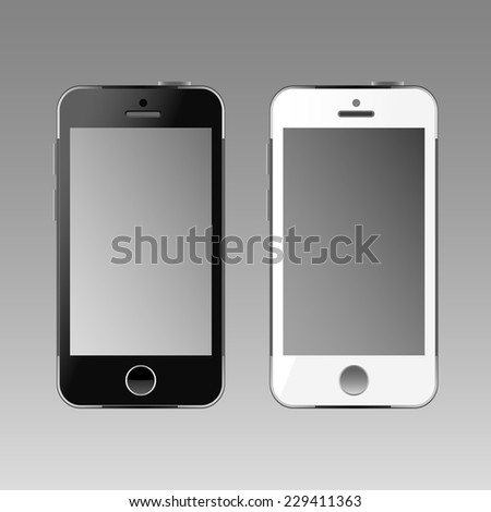 Modern white and black touchscreen cellphones tablet smartphone. Empty screen - stock vector