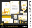 Modern white corporate identity template with yellow elements. Vector company style for brandbook and guideline. EPS 10 - stock vector