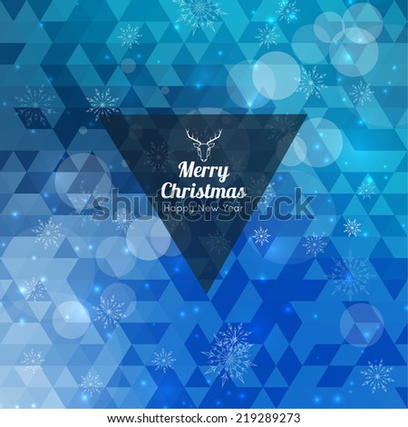 Modern winter abstract background with snowflakes, hipster triangle pattern, polygon mesh, bokeh, stars and sparks. Happy New Year and Merry Christmas. Greeting card - stock vector