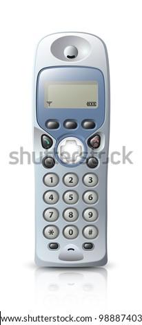 Modern wireless telephone. Vector - stock vector