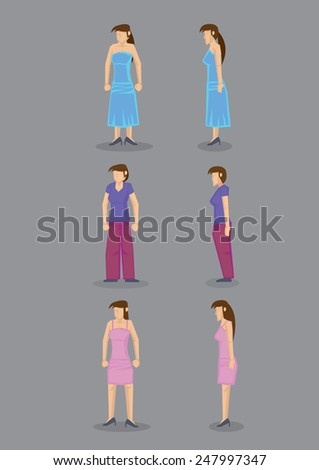 Modern woman wearing party dress, casual street wear and comfortable home clothes, in frontal and profile view. Set of six vector icons isolated on grey background. - stock vector