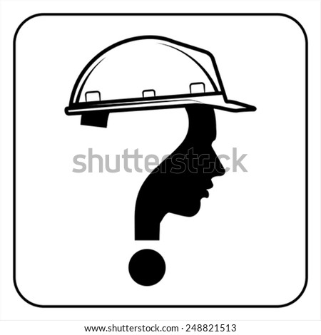 modern worker man sign with question mark, vector - stock vector