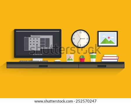 Modern workplace in room on desk - stock vector