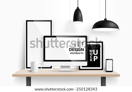 Modern workspace design mock up background. Vector - stock vector