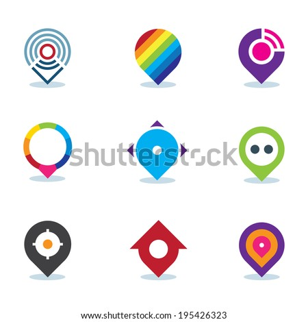 Modern world app logo global position locator community internet media icon - stock vector