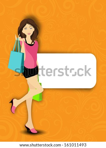 Modern young girl with shopping bags and space for your message - stock vector