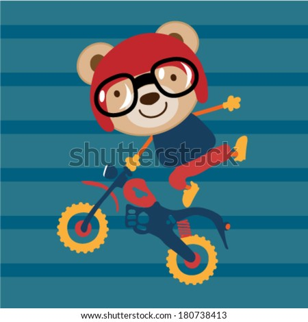 Modified Cross Motorcycle and a cute animal. Vector illustration - stock vector