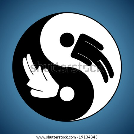 Modified Yin and Yang sign showing man and woman silhouettes - stock vector