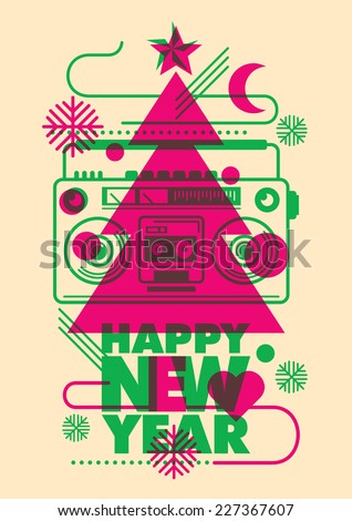 Modish New Year poster design. Vector illustration. - stock vector