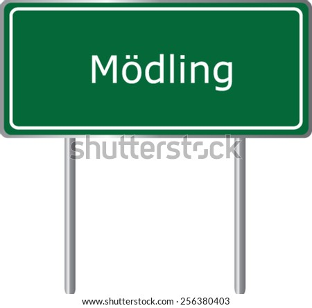Modling, Austria, road sign green vector illustration, road table - stock vector