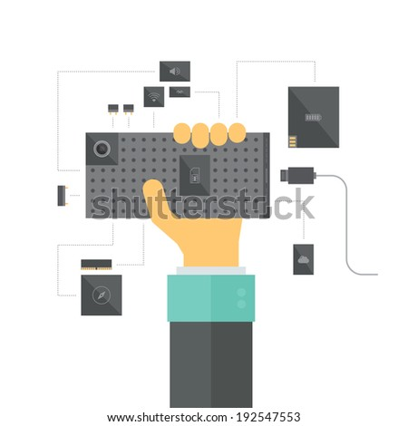 Modular smartphone concept with electronic platform and various device modules and components, a new innovation in mobile hardware development process. Flat design style modern vector illustration. - stock vector