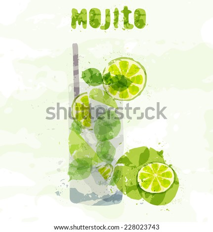 Mojito cocktail with a slice of lime - stock vector