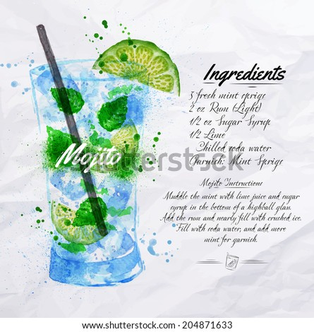 Mojito cocktails drawn watercolor blots and stains with a spray, including recipes and ingredients on the background of crumpled paper - stock vector