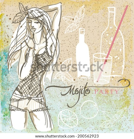 MOJITO party / Retro card with summer drink on the beach   - stock vector