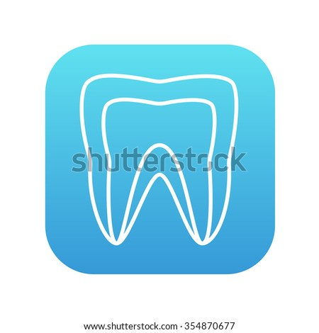 Molar tooth line icon for web, mobile and infographics. Vector white icon on the blue gradient square with rounded corners isolated on white background. - stock vector