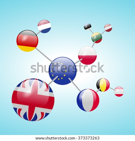 Molecular model of flags - stock vector